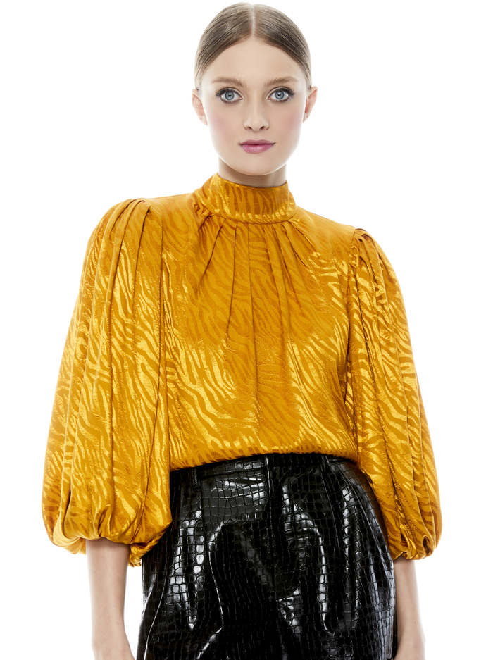 JASSICA PUFF SLEEVE BLOUSE - AUTUMN GOLD - Alice And Olivia