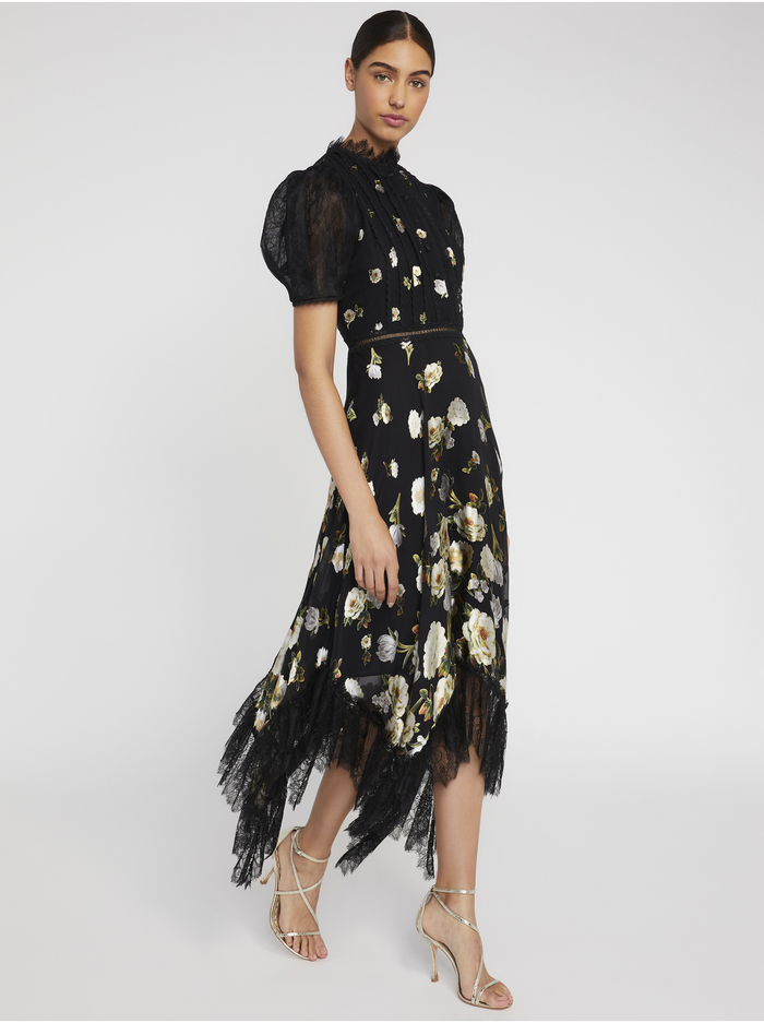 BETTINA FLORAL LACE MIDI DRESS - SPRING SHOWER BLACK - Alice And Olivia