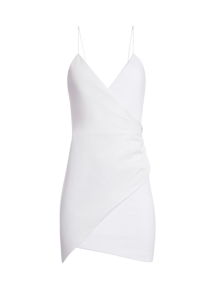 ASHANTI LEATHER COMBO MINI DRESS - WHITE - Alice And Olivia