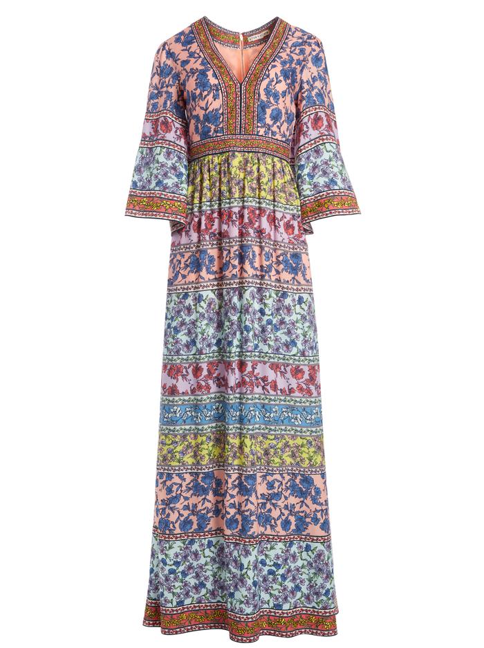 LENA EMBROIDERED KIMONO DRESS - DITSY BORDER MULTI - Alice And Olivia