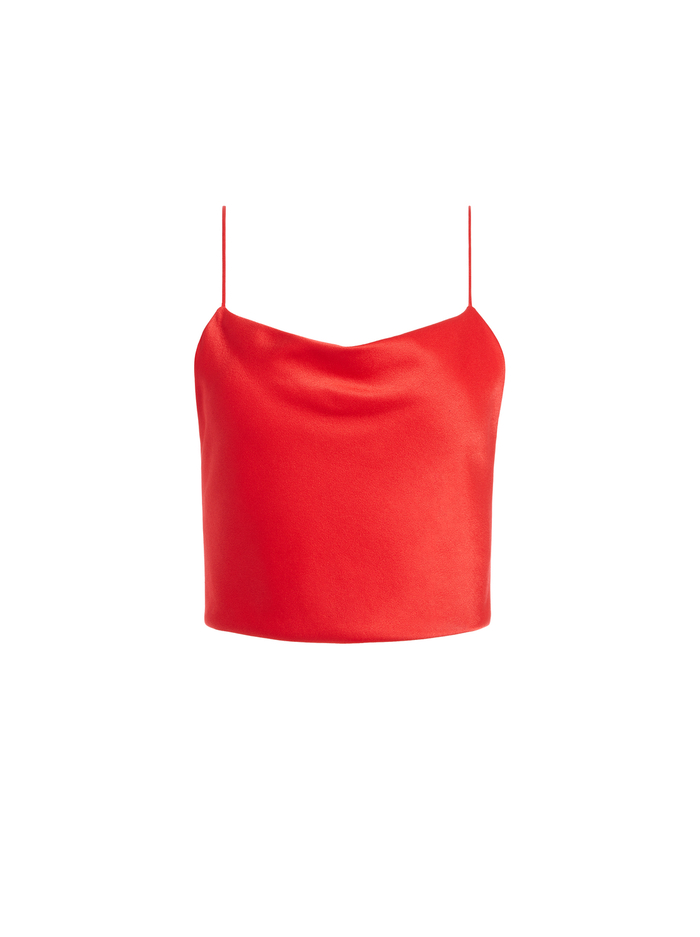 GAB COWL NECK CROP TOP - BRIGHT POPPY - Alice And Olivia