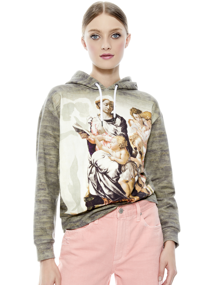 BARRON WIDE SLEEVE HOODIE - MADONNA AND CHILD - Alice And Olivia