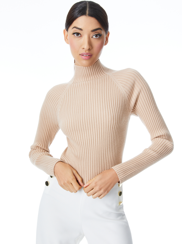 IRENA MOCK NECK CROPPED PULLOVER - ALMOND - Alice And Olivia