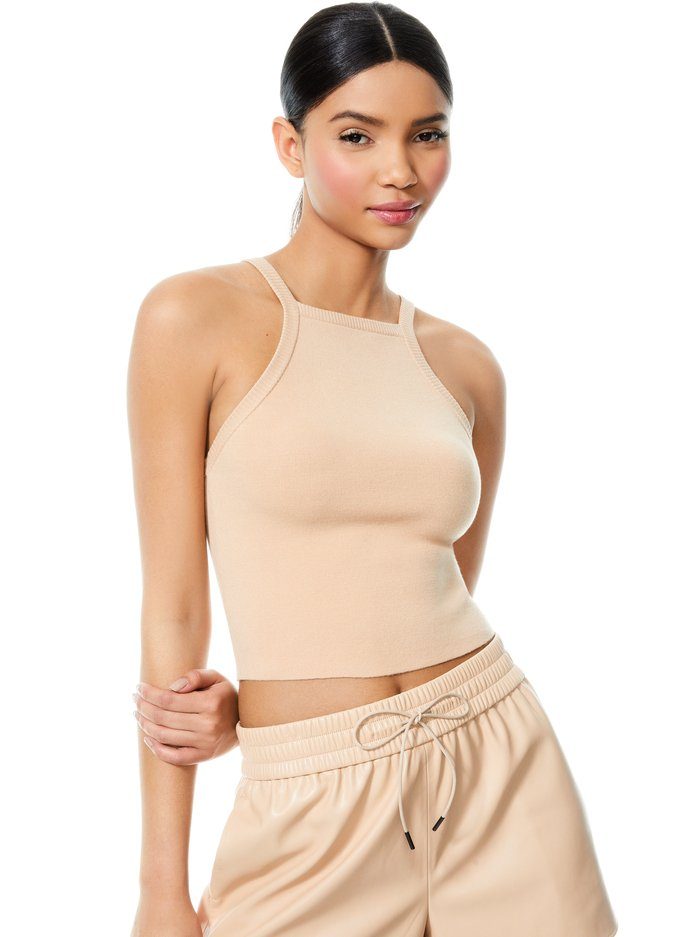 CABOT HIGH NECK TOP - ALMOND - Alice And Olivia