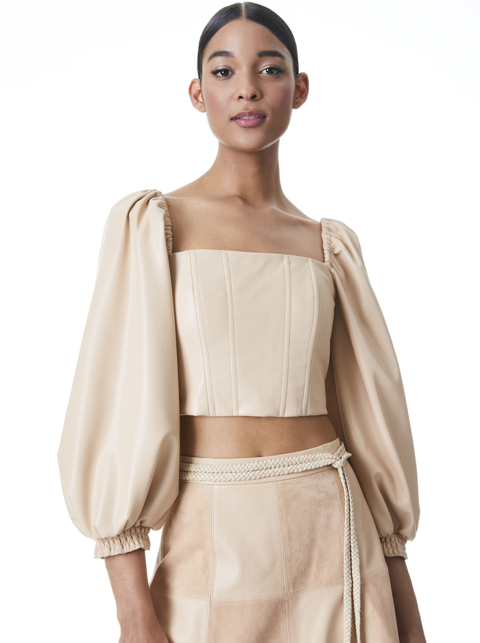 BRONTE VEGAN LEATHER BUSTIER TOP - ALMOND - Alice And Olivia