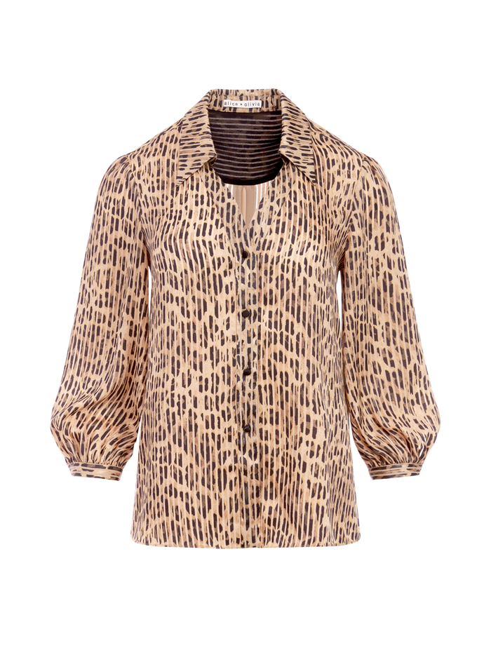 SHEILA LEOPARD HENLEY TOP - SPOTTED LEOPARD SM - Alice And Olivia