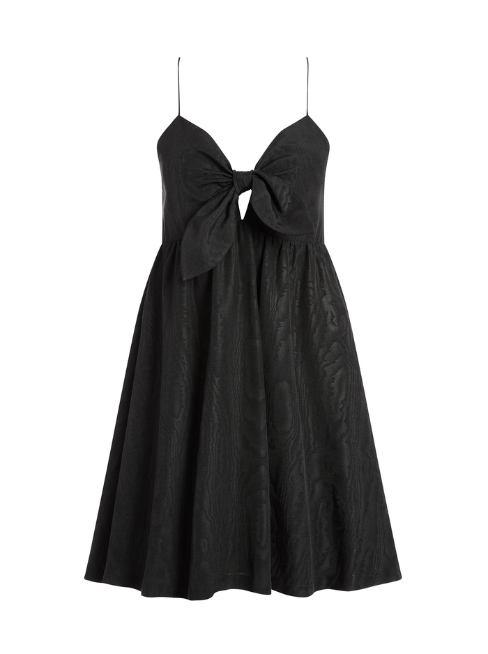 MELVINA TIE FRONT MINI DRESS - BLACK - Alice And Olivia