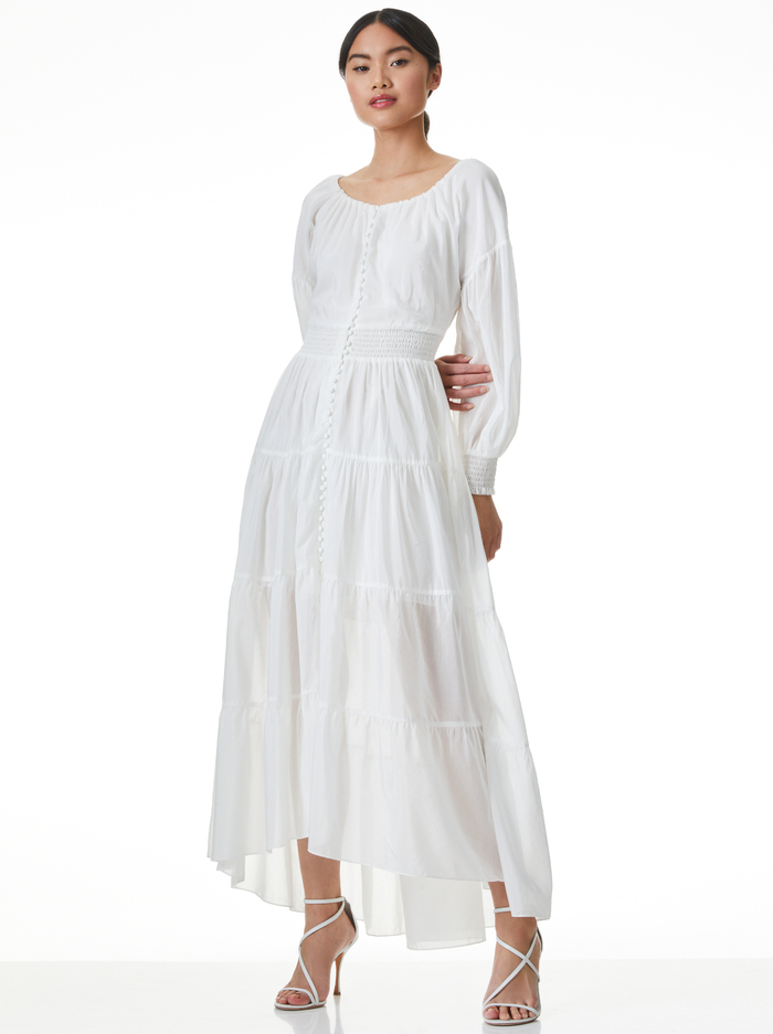 KIARA BUTTON FRONT HIGH LOW DRESS - OFF WHITE - Alice And Olivia