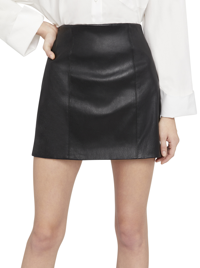 KENZIE LEATHER FITTED MINI SKIRT - BLACK - Alice And Olivia