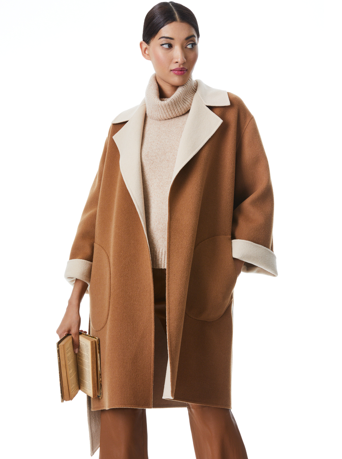TOMIKO REVERSIBLE BELTED COAT - CAMEL/ALMOND - Alice And Olivia