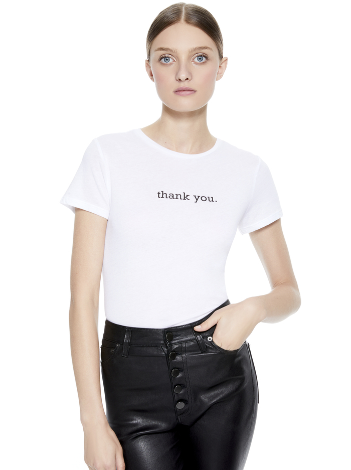 CICELY THANK YOU TEE - WHITE - Alice And Olivia