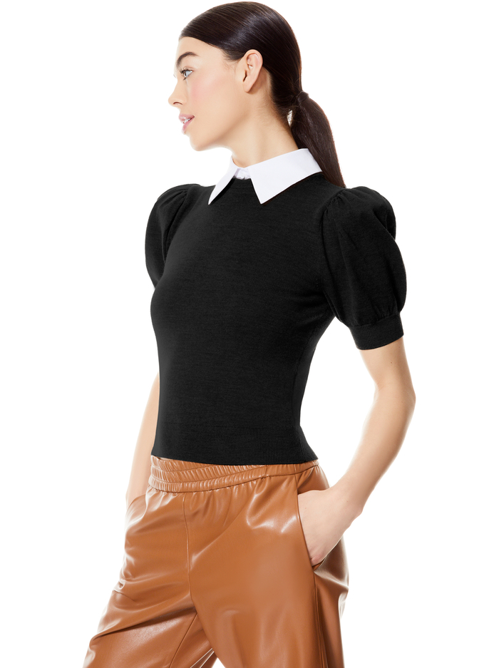 CHASE PUFF SLEEVE SWEATER WITH COLLAR - BLACK/WHITE - Alice And Olivia