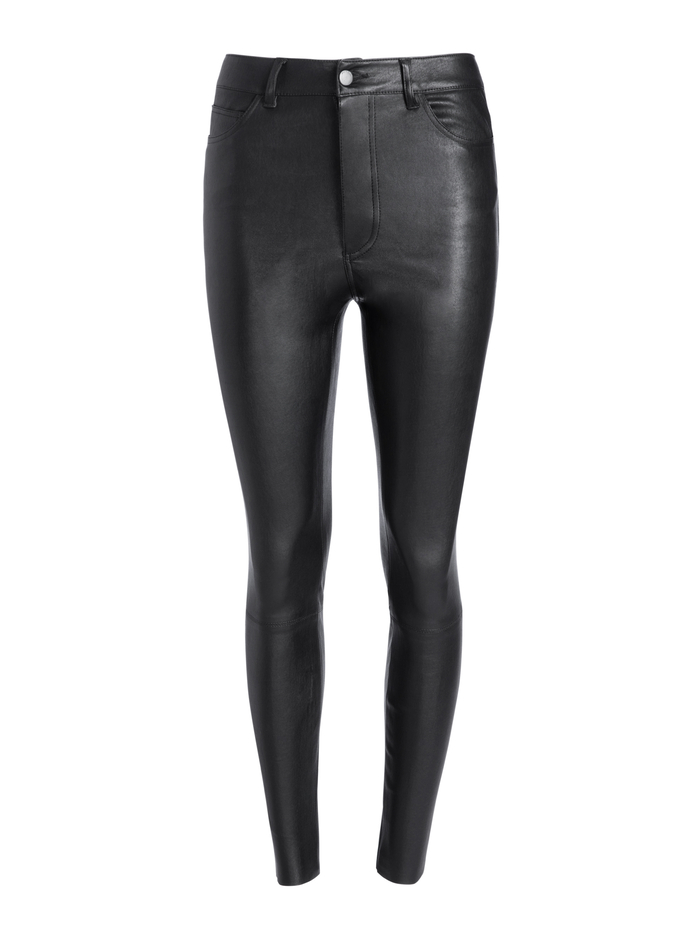 MIKAH SINGLE BUTTON LEATHER PANT - BLACK - Alice And Olivia