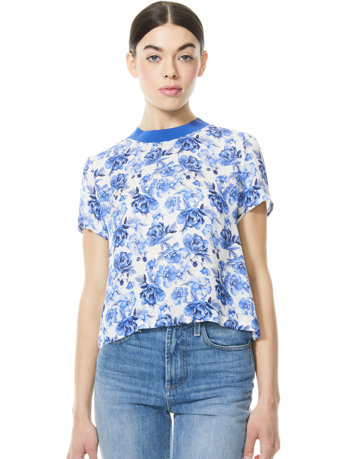 KANE FLORAL TIE FRONT TEE - FORGET ME NOT LG ANTIQUE WHITE - Alice And Olivia