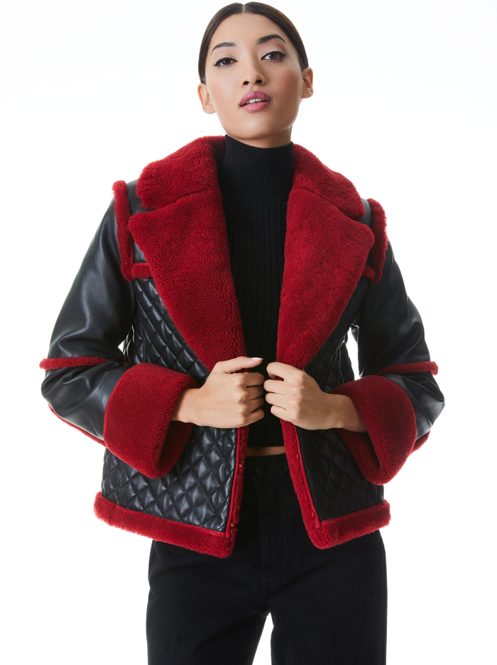 LUISANA QUILTED COMBO COAT - BLACK/DEEP RUBY - Alice And Olivia