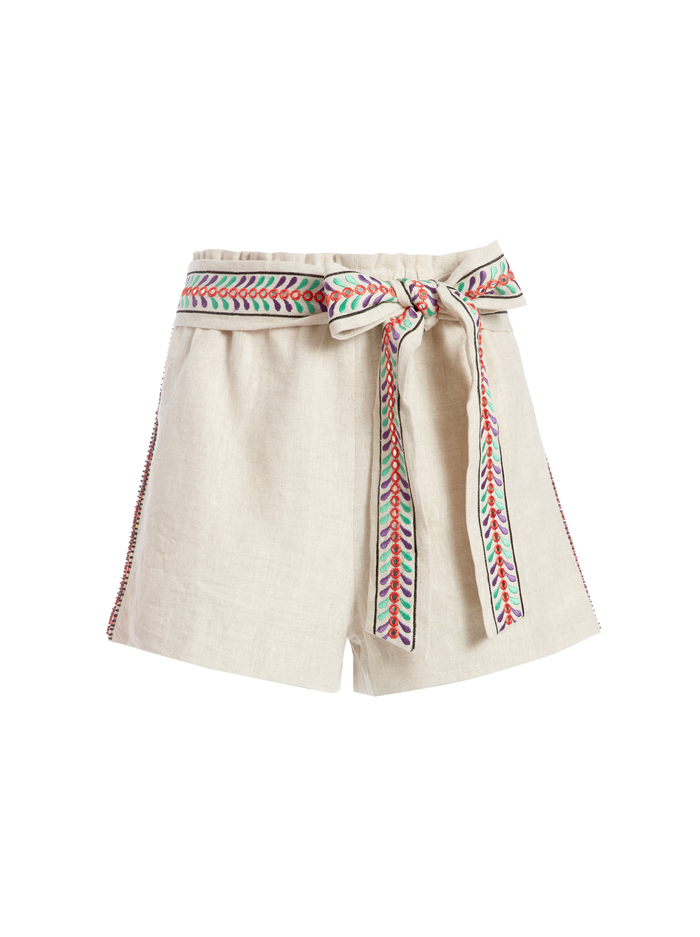 LINN EMBROIDERED PAPERBAG SHORT - NATURAL/MULTI - Alice And Olivia