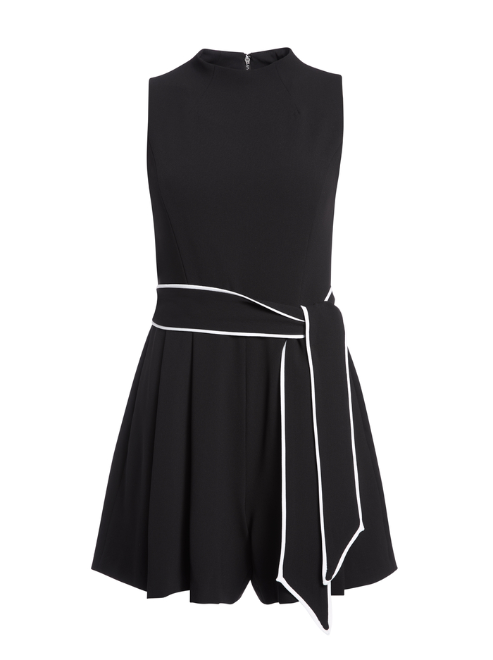 HARLAN PLEATED ROMPER WITH BELT - BLACK/WHITE - Alice And Olivia