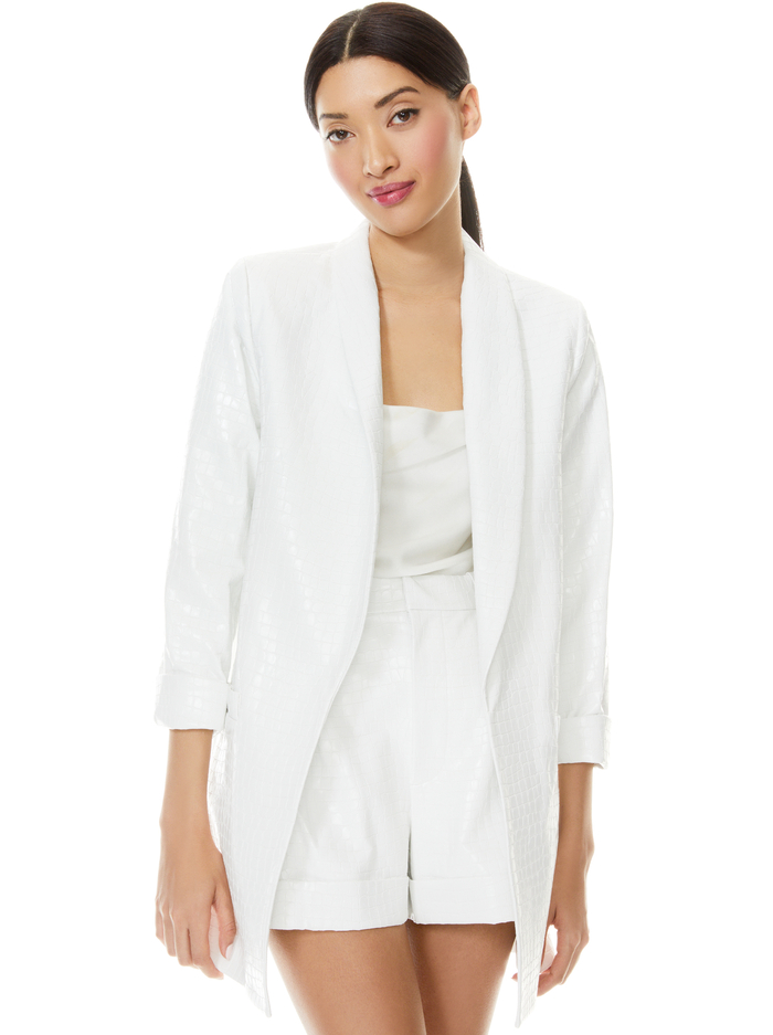 KYLIE VEGAN LEATHER SHAWL COLLAR BLAZER - OFF WHITE - Alice And Olivia