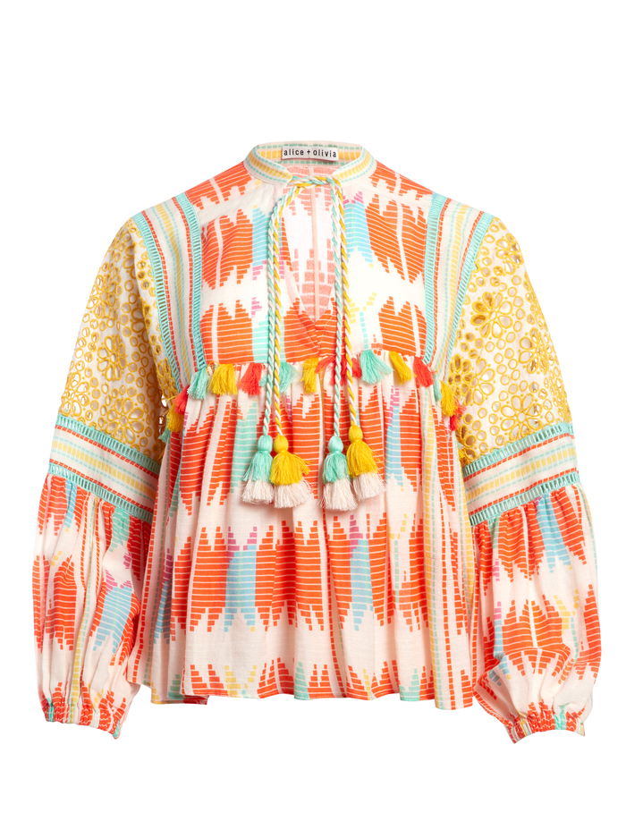 ROSANA TUNIC TOP WITH TASSELS - IKAT MULTI - Alice And Olivia