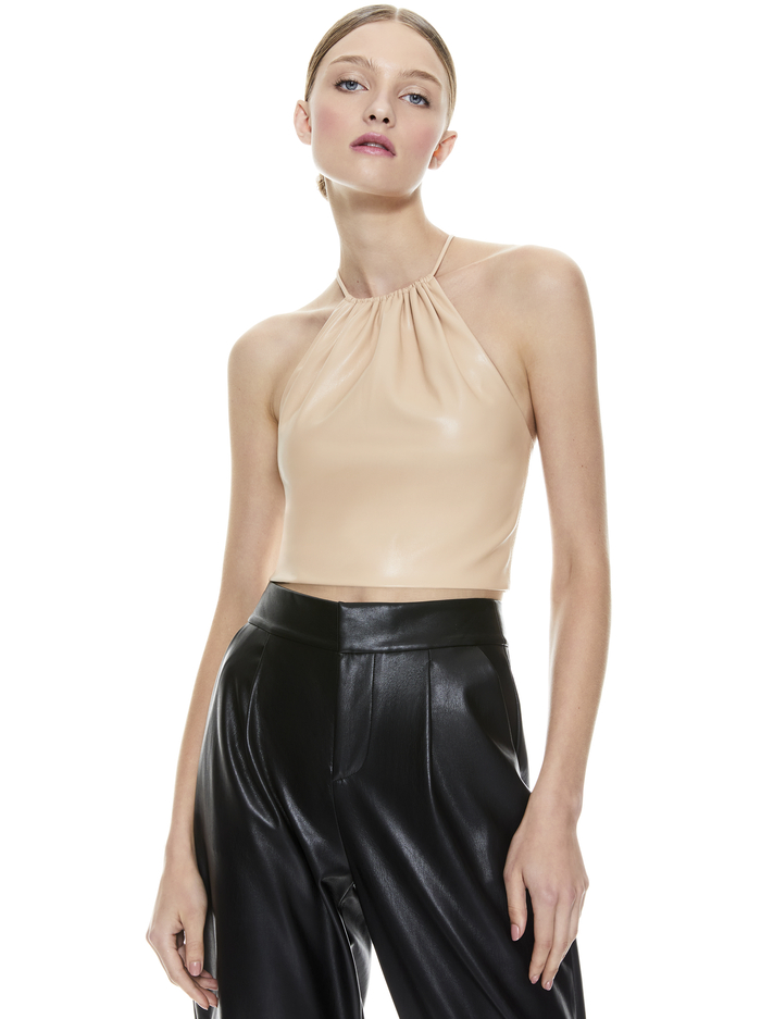 ZUMI VEGAN LEATHER CROP TOP - ALMOND - Alice And Olivia