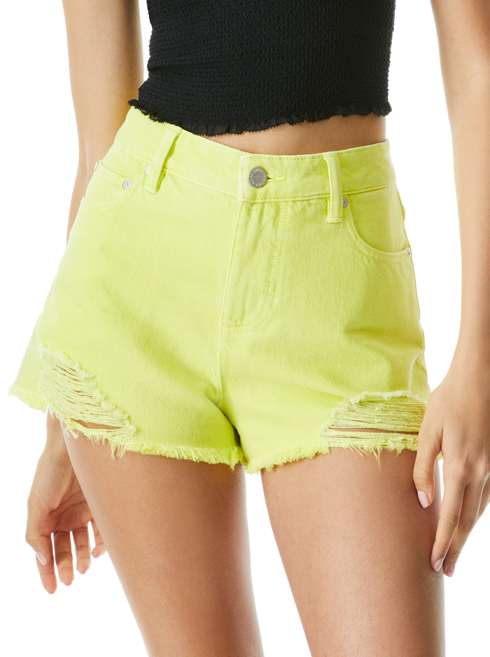 AMAZING HIGH RISE VINTAGE SHORT - NEON LIME - Alice And Olivia