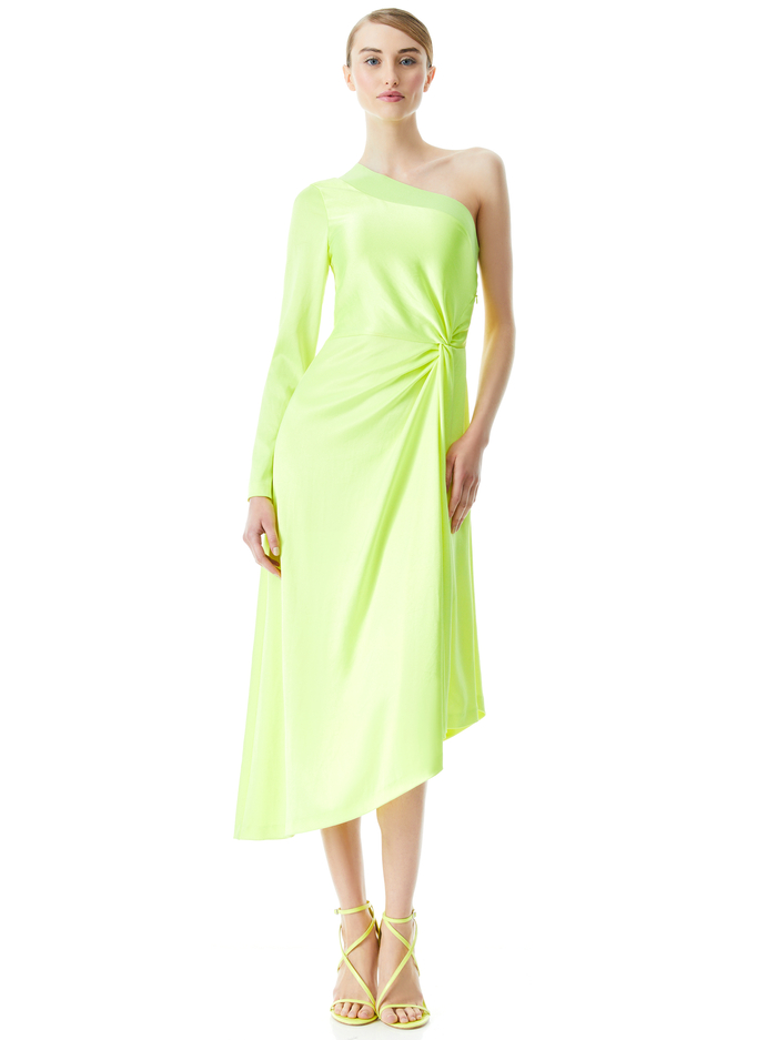 DORA ASYMMETRICAL OFF THE SHOULDER DRESS - NEON KEYLIME - Alice And Olivia