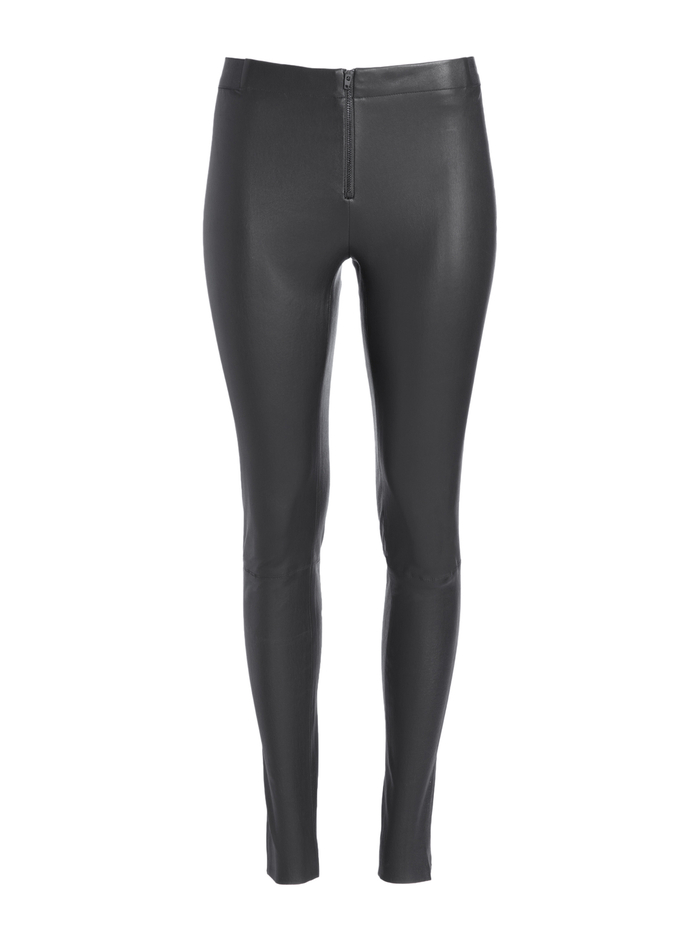 FRONT ZIP LEATHER LEGGING - BLACK - Alice And Olivia