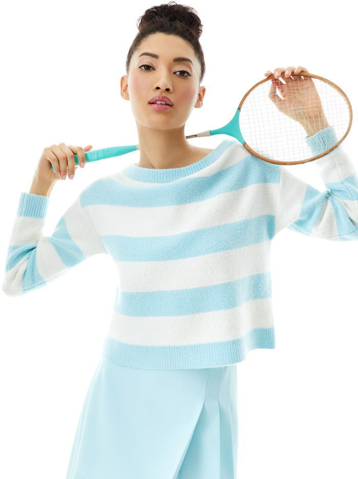 BAUER OFF THE SHOULDER PULLOVER - POWDER BLUE/SOFT WHITE - Alice And Olivia