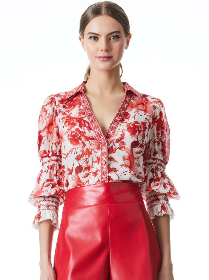 COSIMA FLORAL BUTTON DOWN BLOUSE - FORGET ME NOT RUBY MULTI - Alice And Olivia