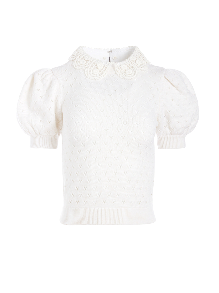 ANNAYLYN PUFF SLEEVE SWEATER - SOFT WHITE - Alice And Olivia