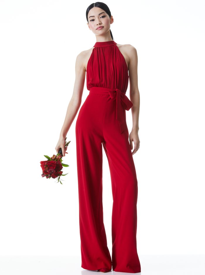 THELMA HALTER NECK JUMPSUIT - DEEP RUBY - Alice And Olivia