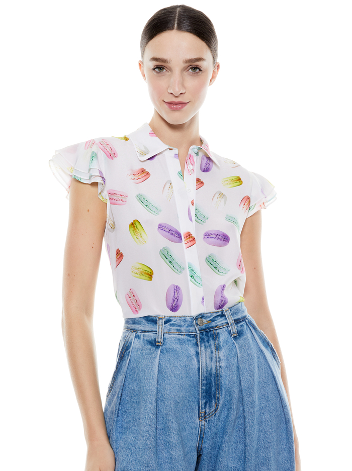 ELI FLUTTER SLEEVE BUTTON DOWN - SUNDAY MACAROONS - Alice And Olivia