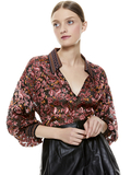 DESIREE FLORAL COLLARED BLOUSE - TWILIGHT FLORAL ROSE/CMBO MULT