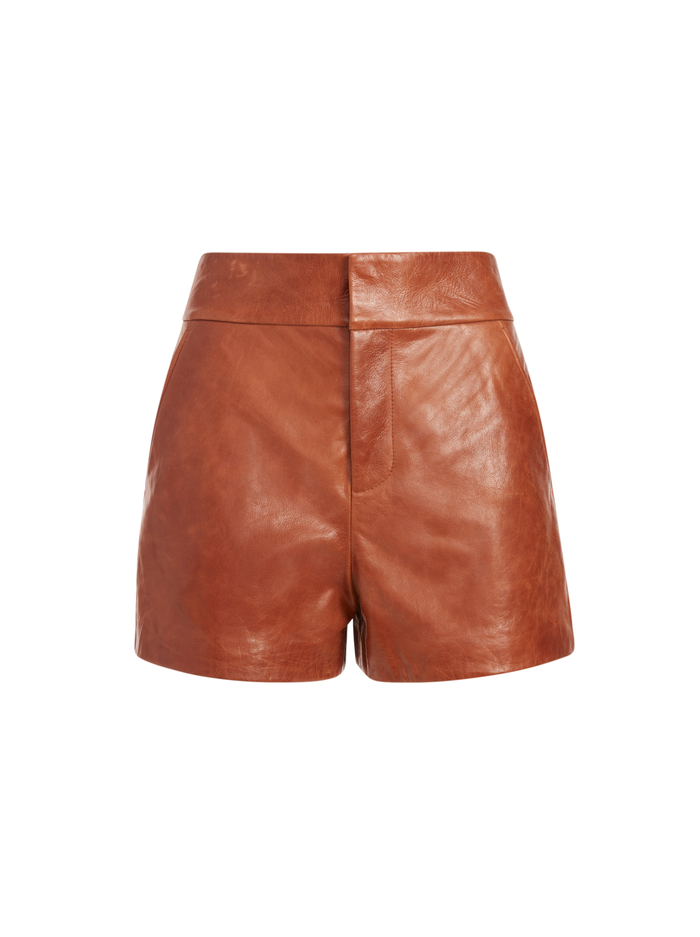 CADY LEATHER SHORT - COGNAC - Alice And Olivia