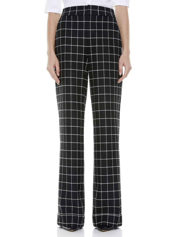 DYLAN HIGH WAISTED PANT - BLACK/WHITE - Alice And Olivia