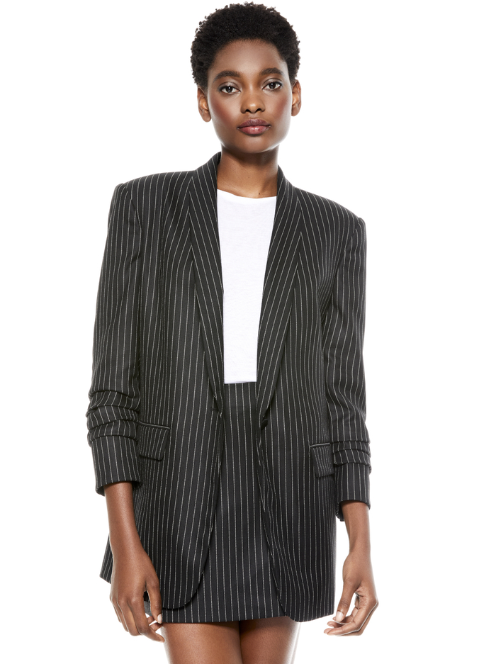 RONNIE SCRUNCHED SLEEVE BLAZER - PINSTRIPE - Alice And Olivia