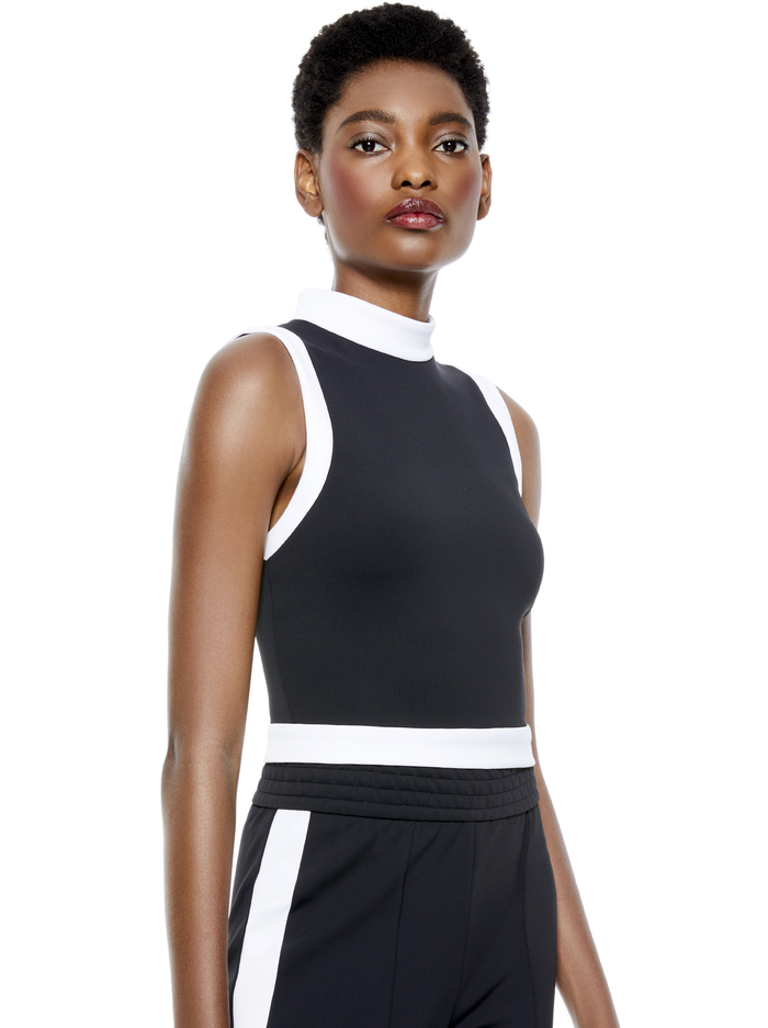 MORY CROP TOP - BLACK/OFF WHITE - Alice And Olivia
