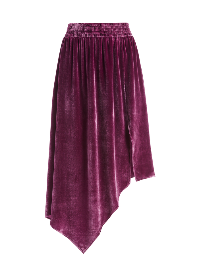 ANGELIQUE ASYMMETRICAL MIDI SKIRT - BOYSENBERRY - Alice And Olivia