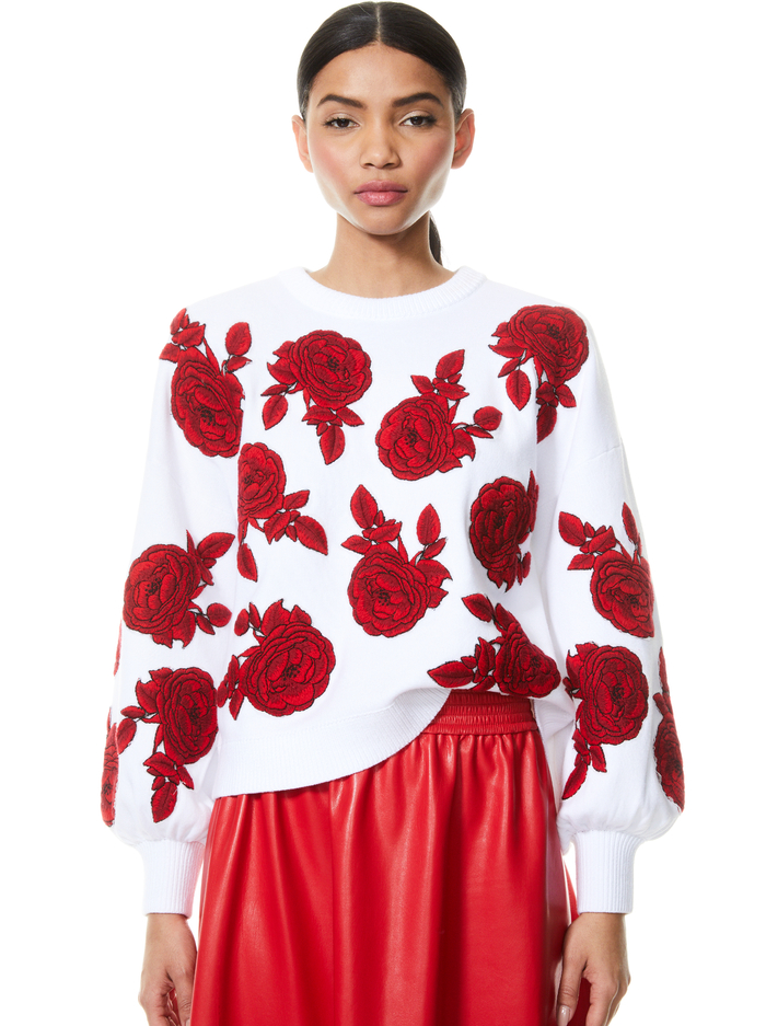 CARWEN EMBROIDERED PULLOVER - SOFT WHITE/BRIGHT POPPY - Alice And Olivia