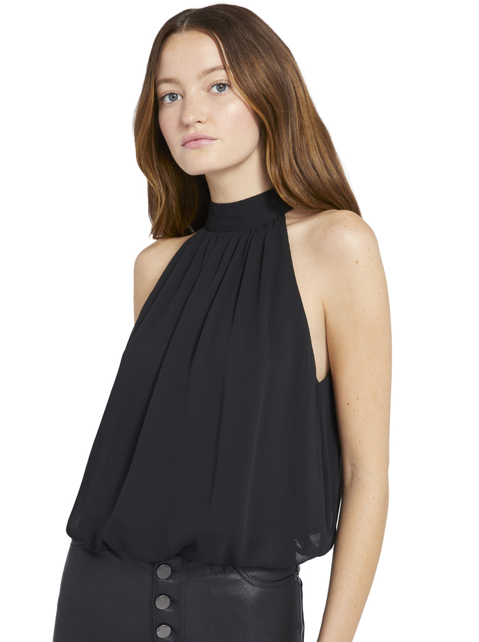 MARIS HALTER NECK GATHERED TOP - BLACK - Alice And Olivia