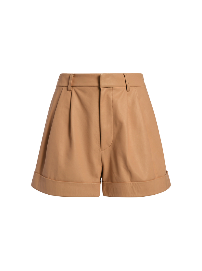 CONRY LEATHER PLEATED SHORTS - CAMEL - Alice And Olivia