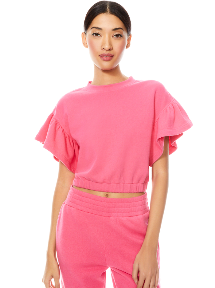 JOLINE RUFFLE SLEEVE CROPPED PULLOVER - WILD PINK - Alice And Olivia
