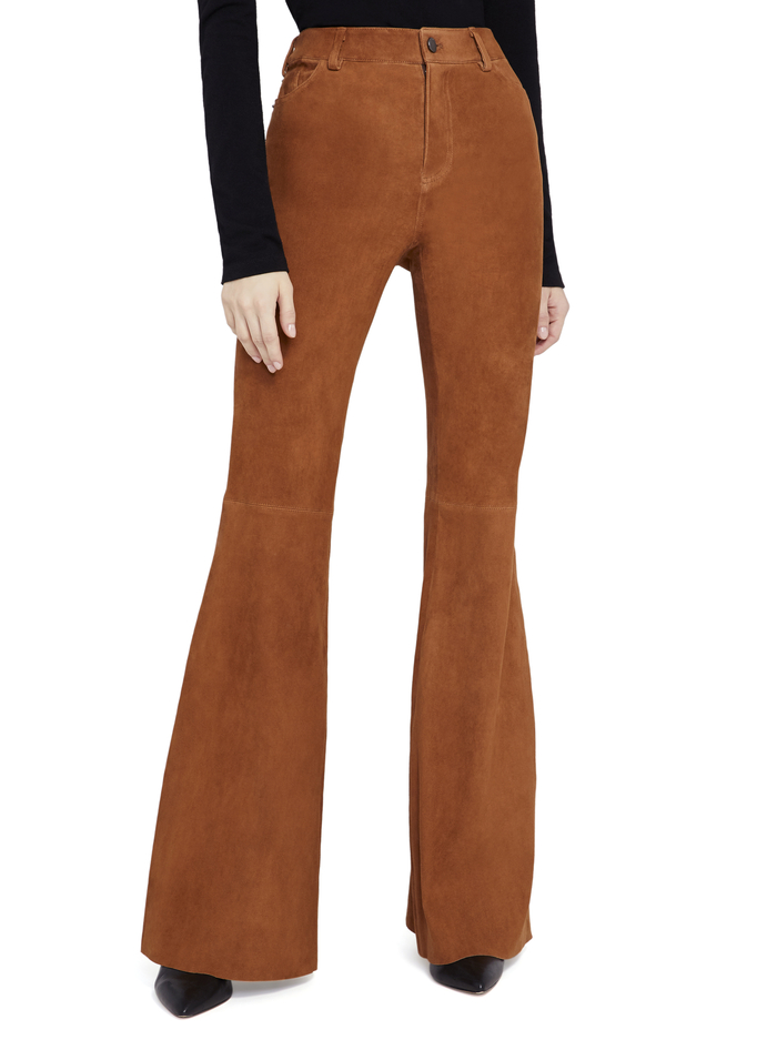 BRENT HW SUEDE BELL PANT - CAMEL - Alice And Olivia