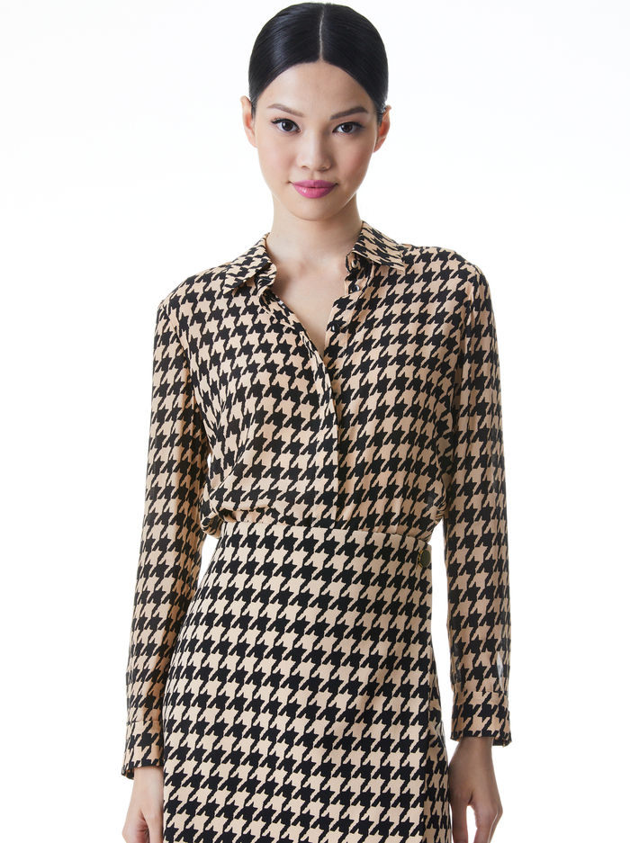 WILLA HOUNDSTOOTH PRINTED BLOUSE - ALMOND/BLACK - Alice And Olivia