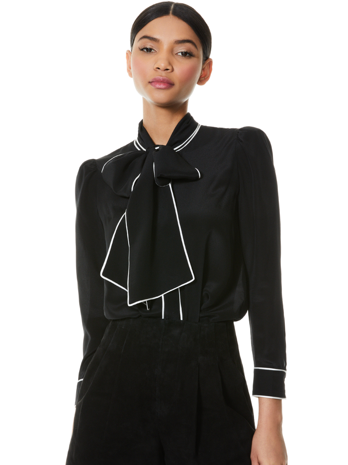 JEANNIE BOW COLLAR BUTTON DOWN - BLACK/OFF WHITE - Alice And Olivia