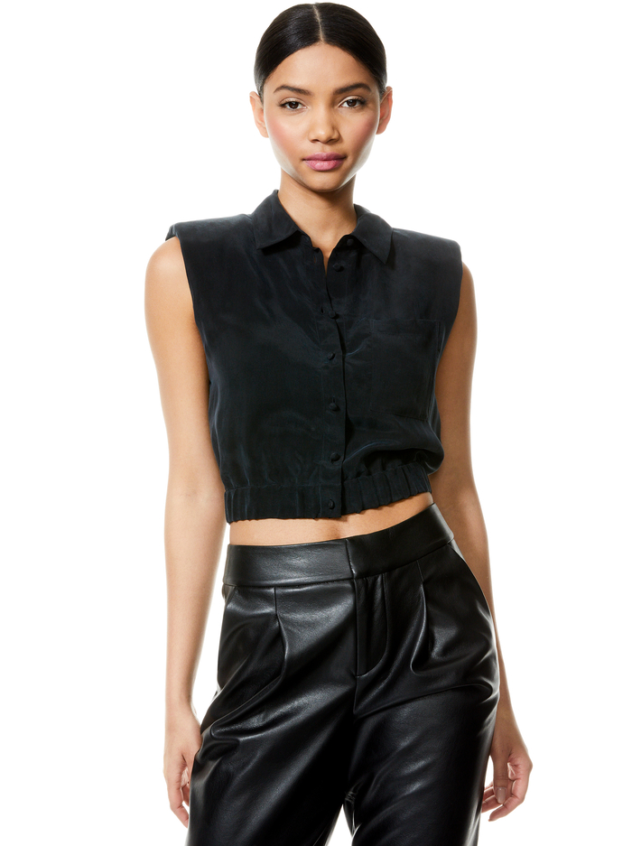 ARIELLE STRONG SHOULDER CROP TOP - BLACK - Alice And Olivia