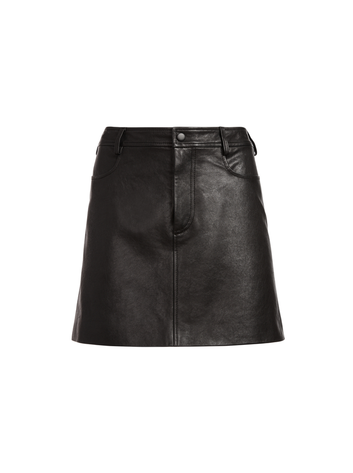 LILO LEATHER MINI SKIRT - BLACK - Alice And Olivia