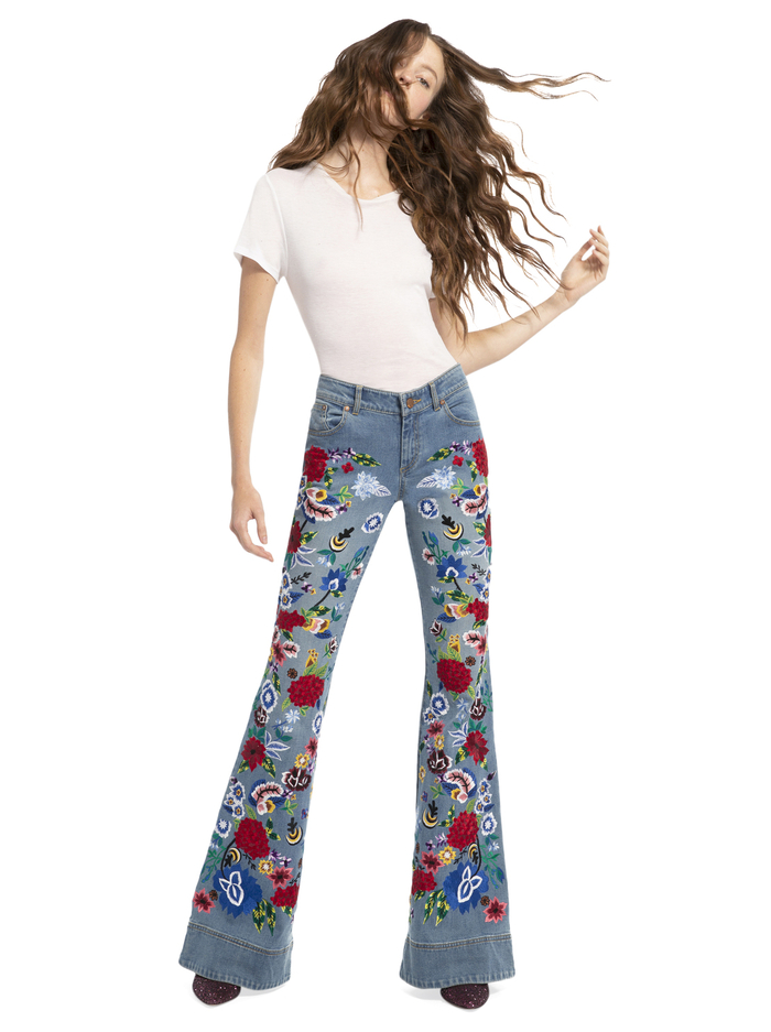 RYLEY LOW RISE BELL JEAN - BRIGHT MULTI - Alice And Olivia