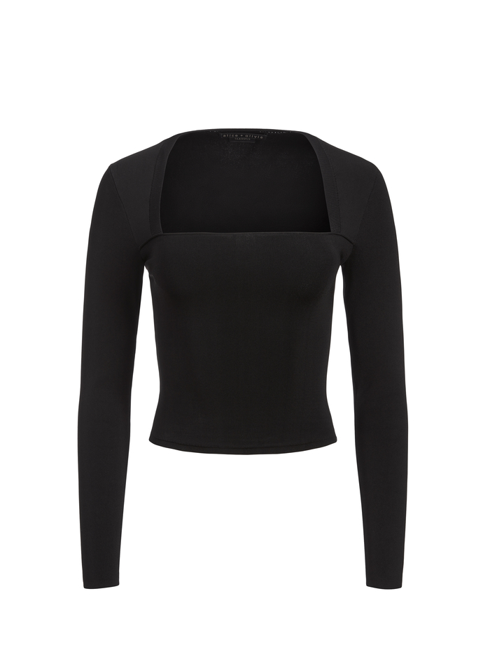 RICARDA CUT OUT TOP - BLACK - Alice And Olivia