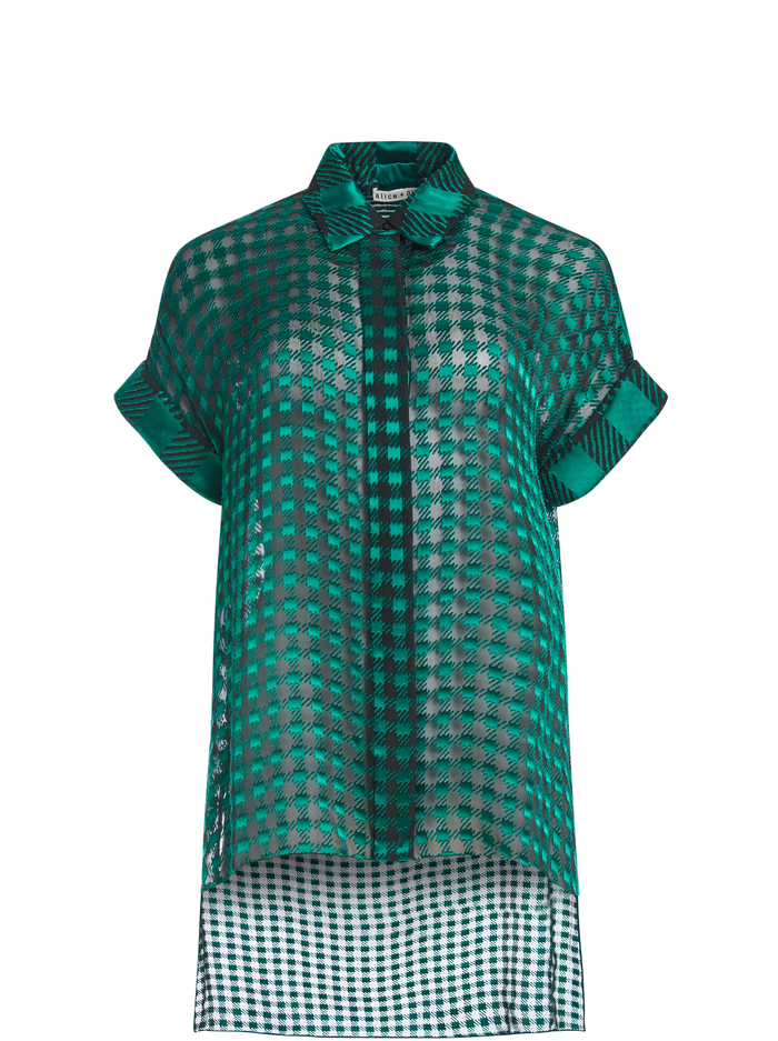 EDYTH ASYMMETRICAL BLOUSE - GINGHAM BABE SM DK TEAL/COMBO - Alice And Olivia